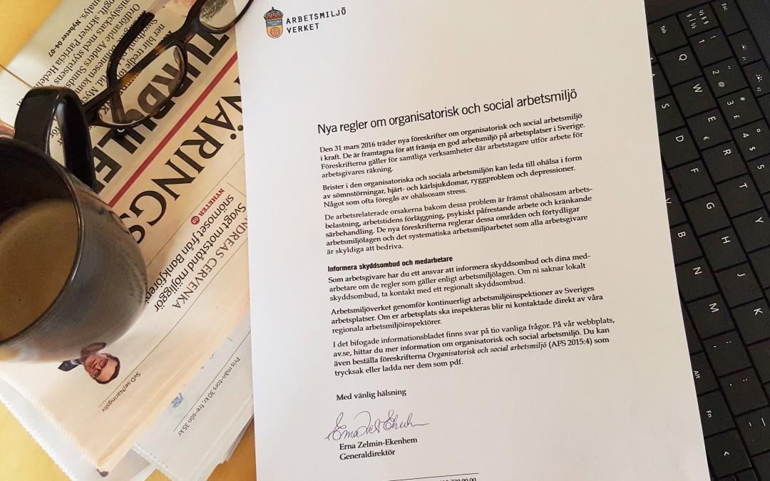 Har du läst brevet från Arbetsmiljöverkets Generaldirektör?